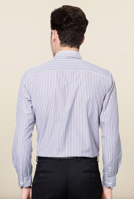 Peter England Blue & Purple Striped Slim Fit Formal Shirt