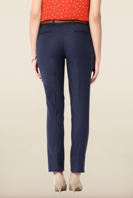 Allen Solly Navy Solid Trouser