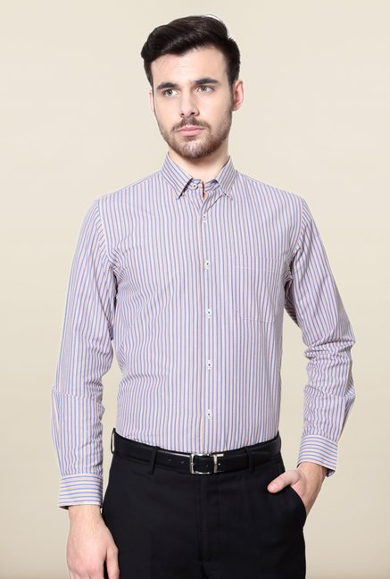 Peter England Blue & Coral Striped Formal Shirt