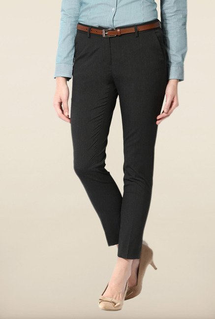 Allen Solly Black Solid Trouser