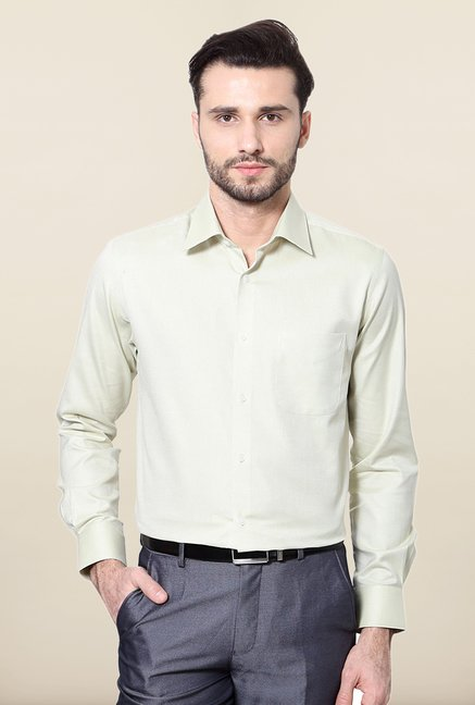 Peter England Light Green Printed Cotton Formal Shirt
