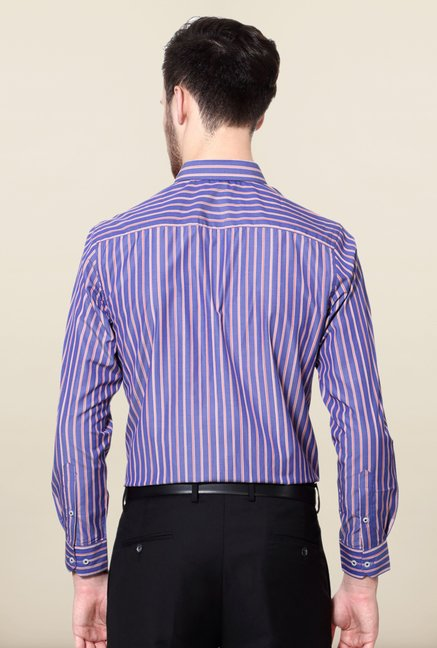 Peter England Blue & Red Striped Formal Shirt