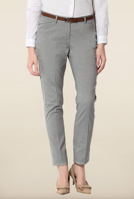 Allen Solly Grey Textured Trouser