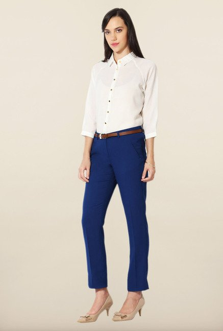 Allen Solly Blue Solid Trousers