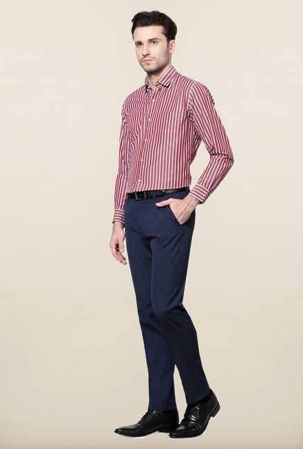 Peter England Maroon & Grey Striped Formal Shirt
