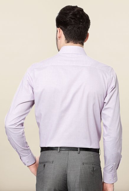 Peter England Purple Checks Slim Fit Cotton Formal Shirt
