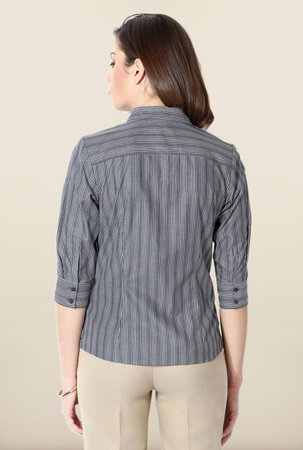 Allen Solly Grey Pin Striped Formal Shirt