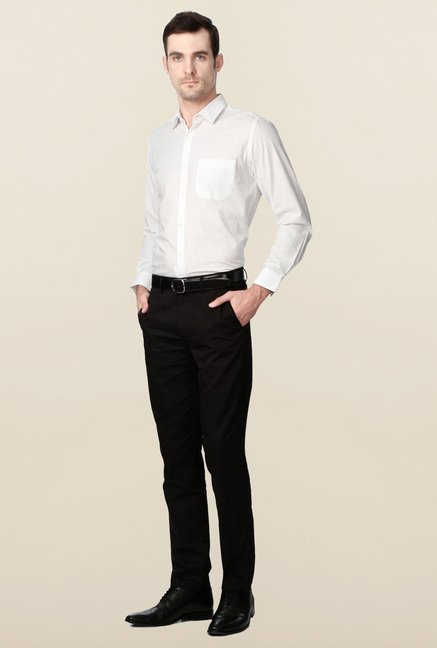 Peter England White Slim Fit Cotton Shirt