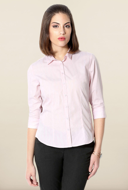 Allen Solly Light Pink Pin Striped Formal Shirt