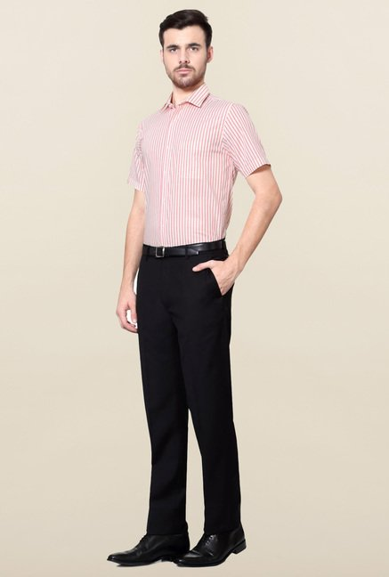 Peter England Pink Striped Cotton Shirt