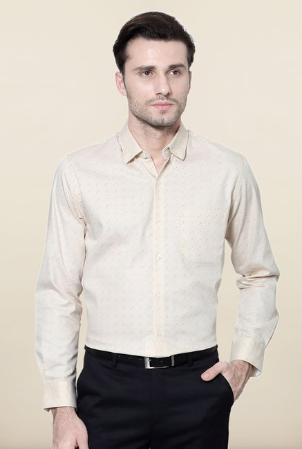 Peter England Beige Printed Slim Fit Formal Shirt
