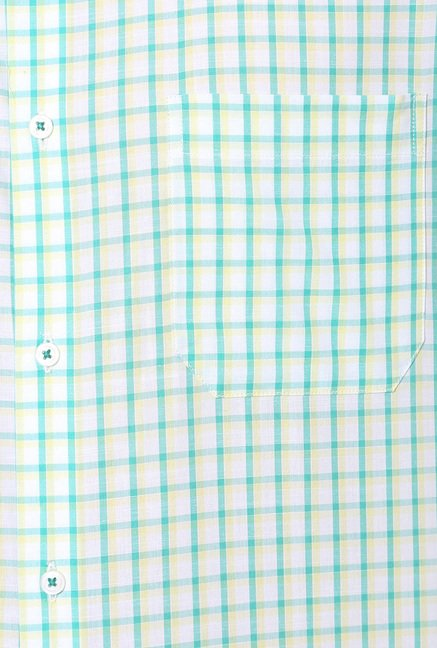 Peter England Green & White Slim Fit Formal Shirt