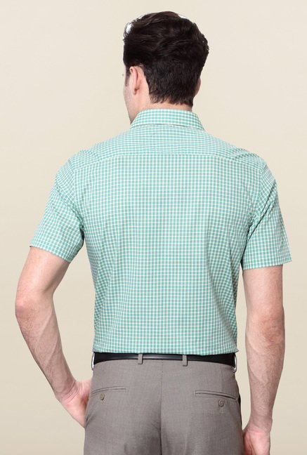 Peter England Green & White Checks Slim Fit Shirt