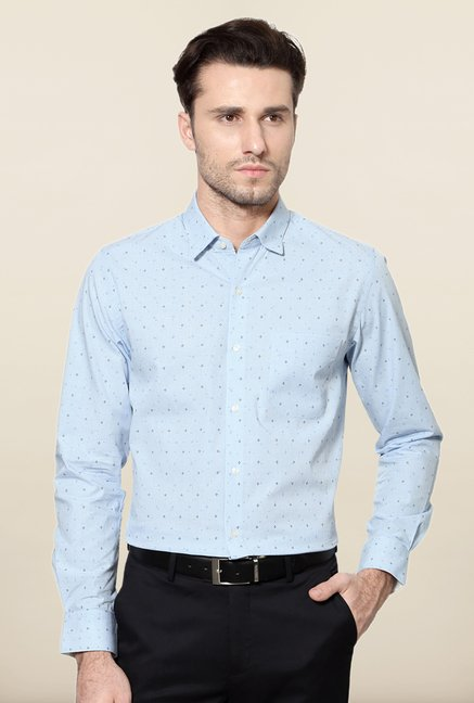Peter England Blue Printed Slim Fit Cotton Shirt