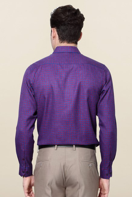 Peter England Purple Checks Slim Fit Shirt