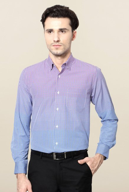 Peter England Purple & Blue Ombre Formal Shirt