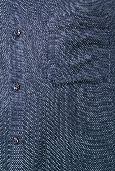 Peter England Blue & Green Slim Fit Formal Shirt