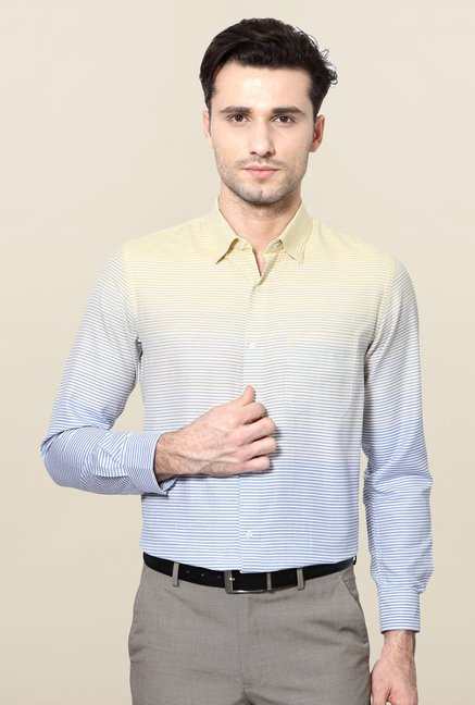 Peter England Yellow & Blue Striped Formal Shirt