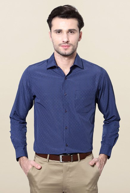 Peter England Navy Checks Slim Fit Formal Shirt