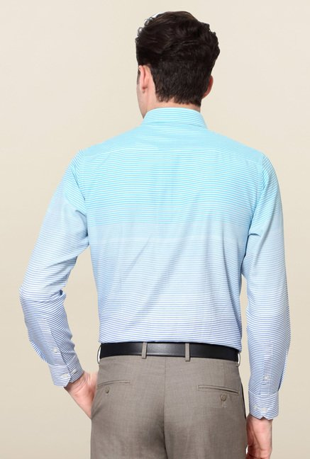 Peter England Blue Striped Full Sleeves Formal Shirt