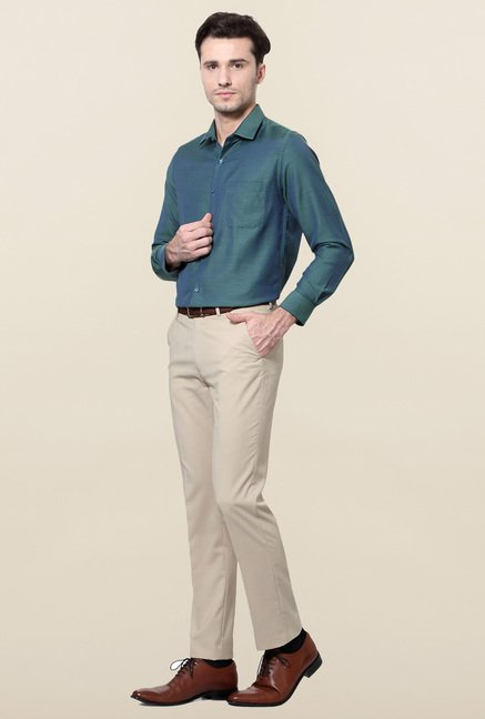 Peter England Green Slim Fit Cotton Formal Shirt