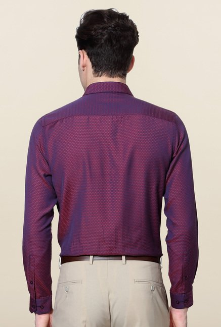 Peter England Purple Printed Shirt