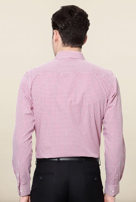 Peter England Pink & White Checks Slim Fit Formal Shirt