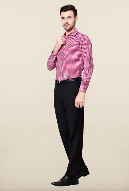 Peter England Pink & White Checks Slim Fit Shirt