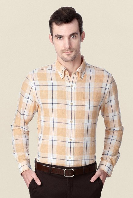 Peter England Orange Cotton Formal Shirt