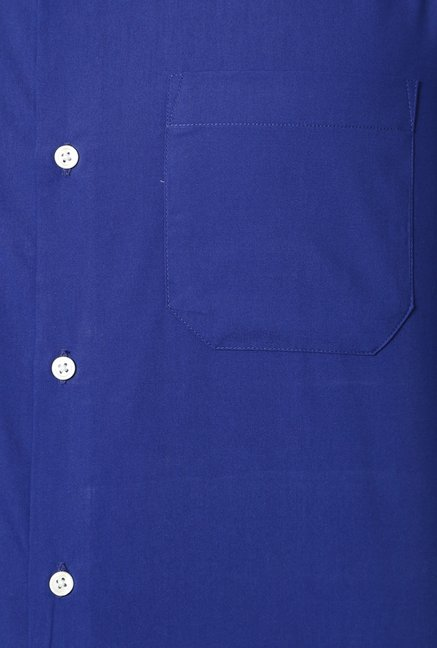 Peter England Royal Blue Solid Slim Fit Shirt