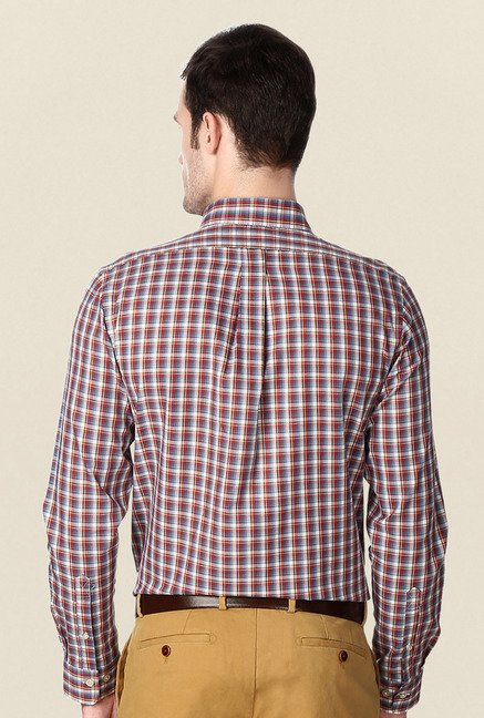 Peter England Red & Blue Slim Fit Cotton Formal Shirt