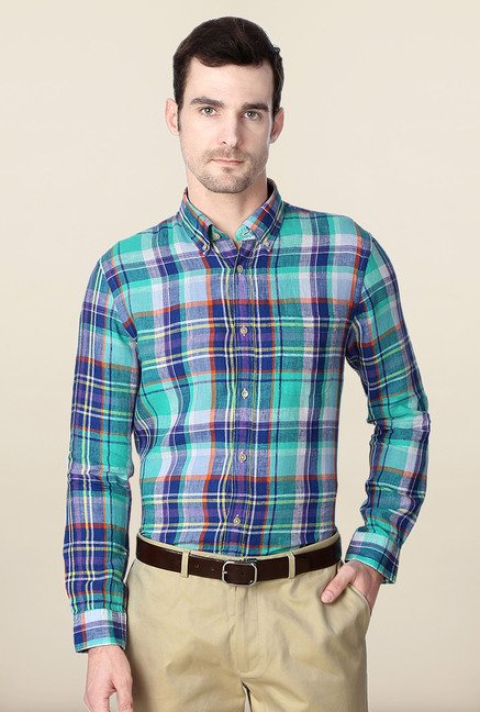 Peter England Green & Blue Checks Slim Fit Formal Shirt