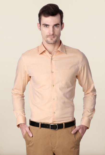 Peter England Peach Solid Formal Shirt