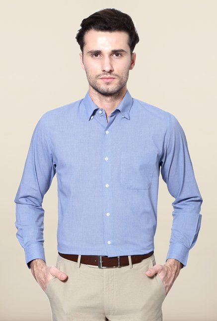 Peter England Blue Printed Cotton Formal Shirt