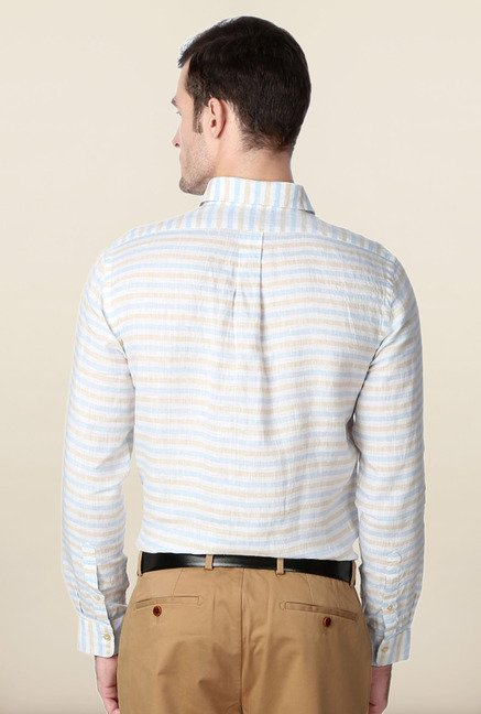 Peter England White & Blue Striped Linen Formal Shirt
