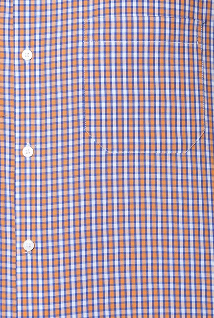 Peter England Orange Slim Fit Formal Shirt