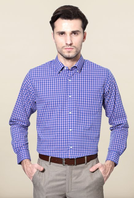 Peter England Blue & Pink Checks Formal Shirt