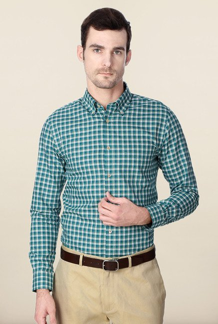 Peter England Green Checks Cotton Formal Shirt