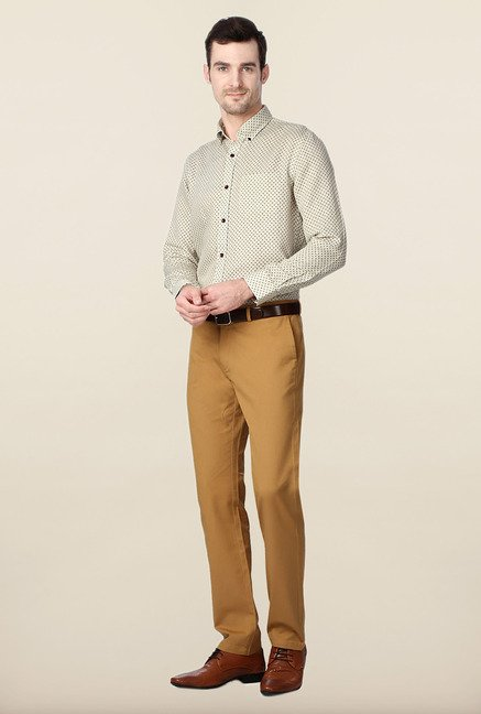 Peter England Beige Printed Formal Shirt