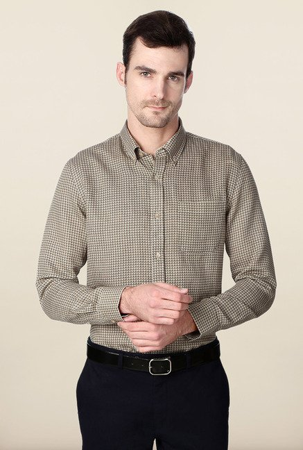 Peter England Brown Printed Formal Shirt