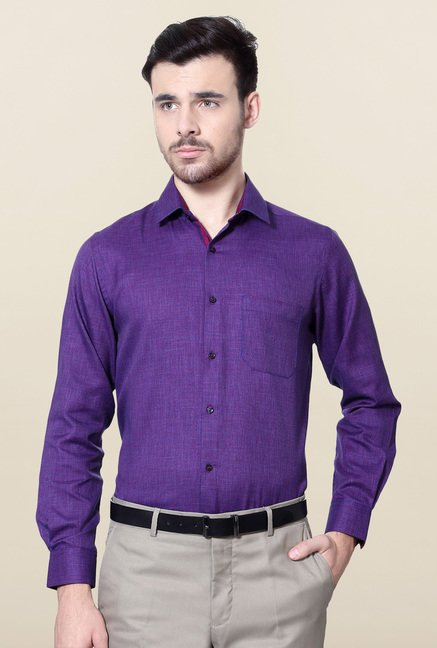 Peter England Purple Slim Fit Formal Shirt