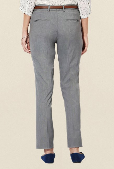 Allen Solly Grey Solid Trouser