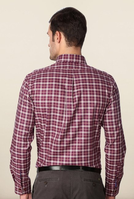Peter England Maroon Checks Slim Fit Formal Shirt