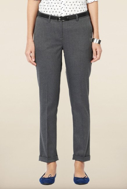 Allen Solly Grey Solid Pants