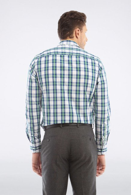 Peter England White & Green Checks Casual Shirt