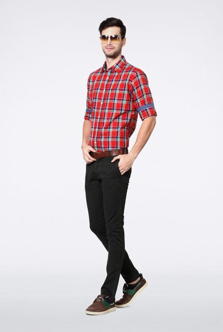 Allen Solly Red & Navy Checks Slim fit Casual Shirt