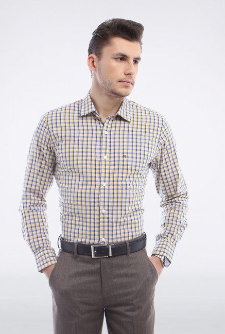 Peter England Yellow & Blue Checks Slim fit Casual Shirt