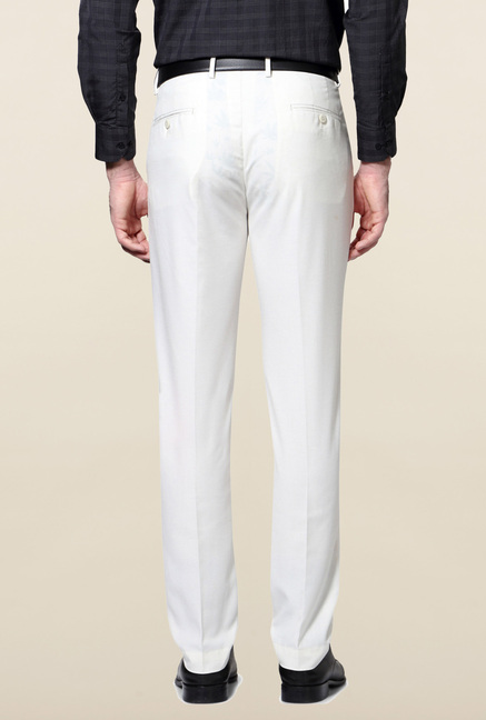 Peter England White Solid Trouser