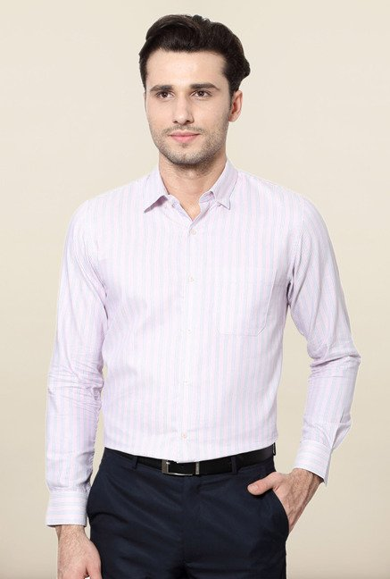 Peter England Pink Striped Slim Fit Formal Shirt