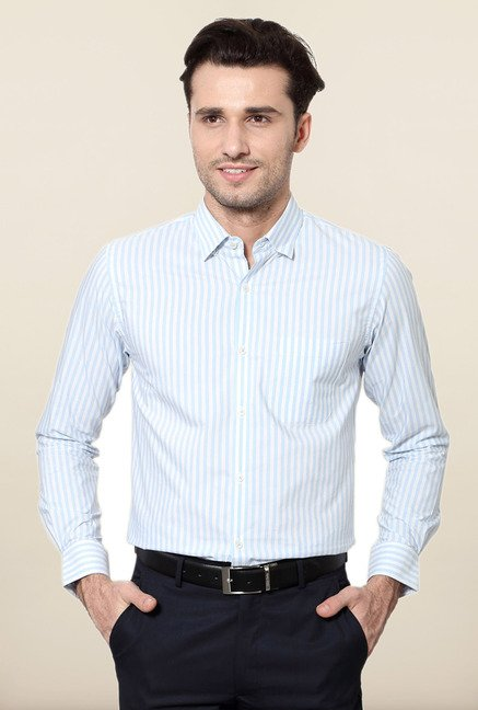 Peter England Blue Striped Full Sleeves Shirt